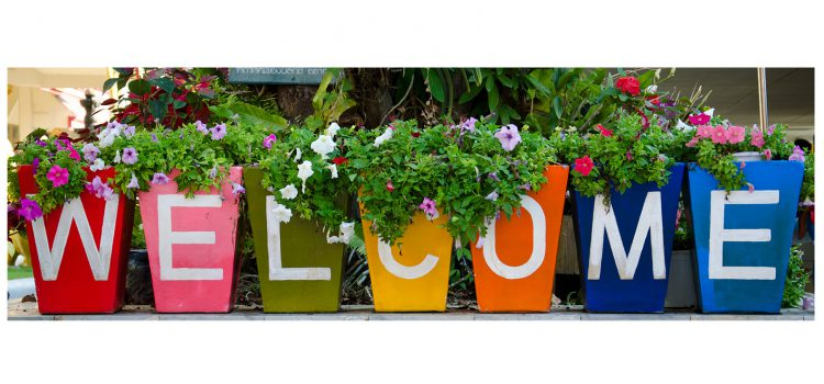 "Welcome Graphic to First Blog Post. Seven decorative multi colored flower pots with each pot displaying a letter for the word ""welcome""."
