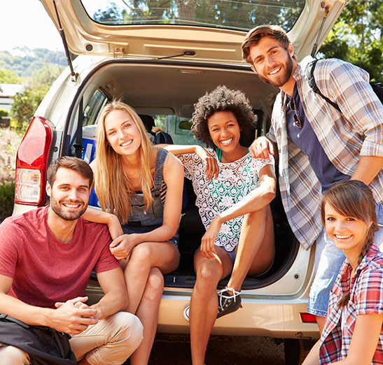 This is a photo showing a happy group of young adults sitting in the back of a minivan on a road trip together on a sunny afternoon. If you need auto insurance, before you hit the road call Odiorne Insurance today. We're looking forward to serving you. Please keep in mind that our webpage is for information only and no coverage can be bound or changed by submitting a request for call form or by emailing us. Please call our office to speak with a licensed agent to discus your insurance needs and coverage. We look forward to hearing from you.