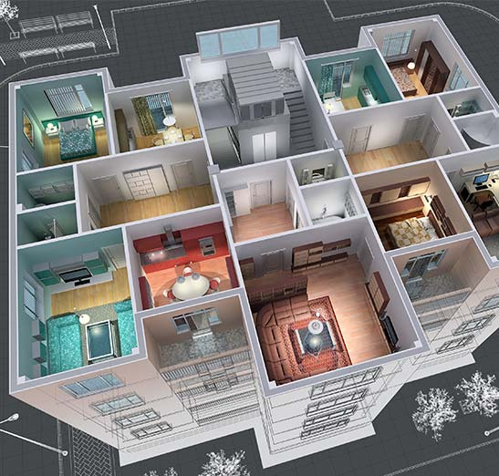 modern architectural rendering of an apartment interior design as viewed from above perspective looking into the various rooms of a multi story apartment building