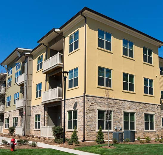 A downtown apartment or condo complex.