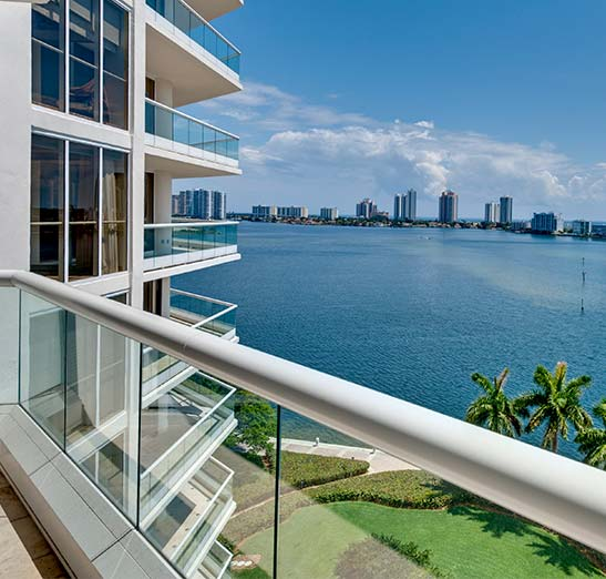 Gorgeous view of bay from luxury condo balcony