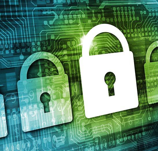 IT Pad lock graphic over digital circuit board.