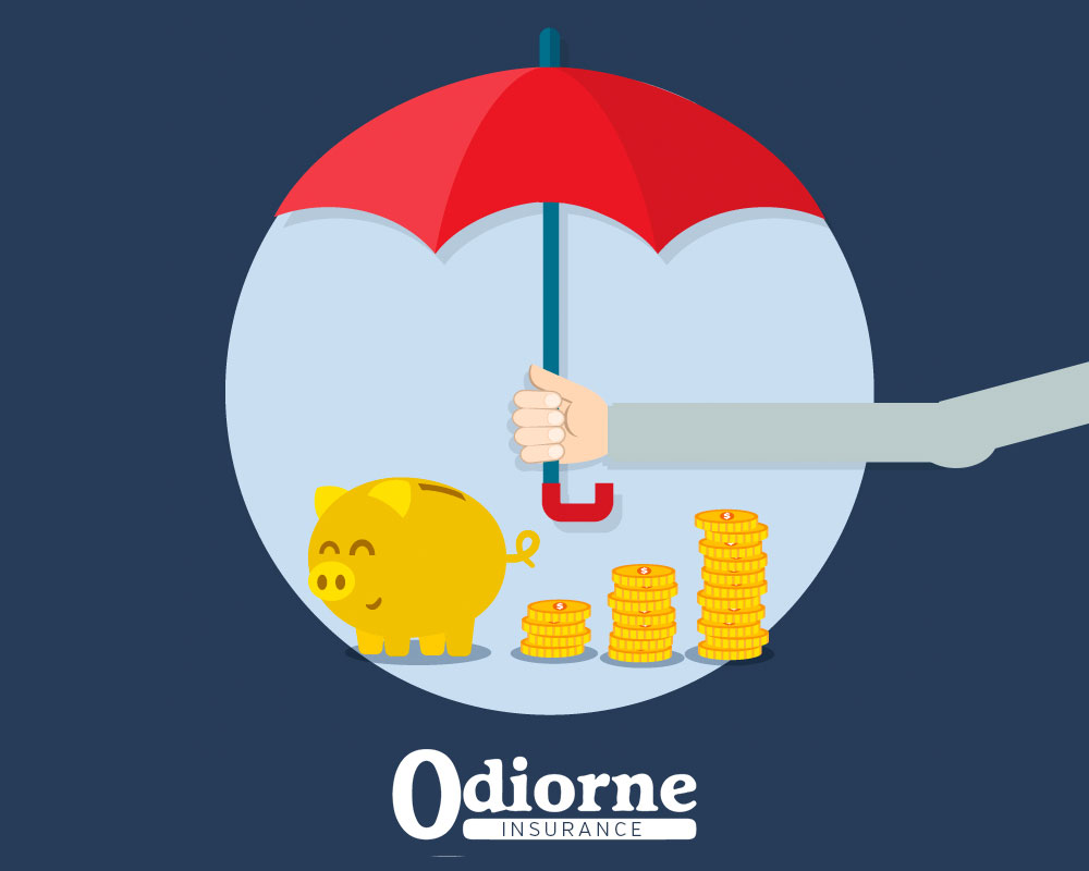 Odiorne Insurance logo with savings emphases, red umbrella shown protecting gold coins and piggy bank