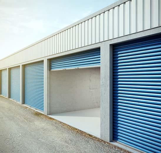 External self storage units shown.