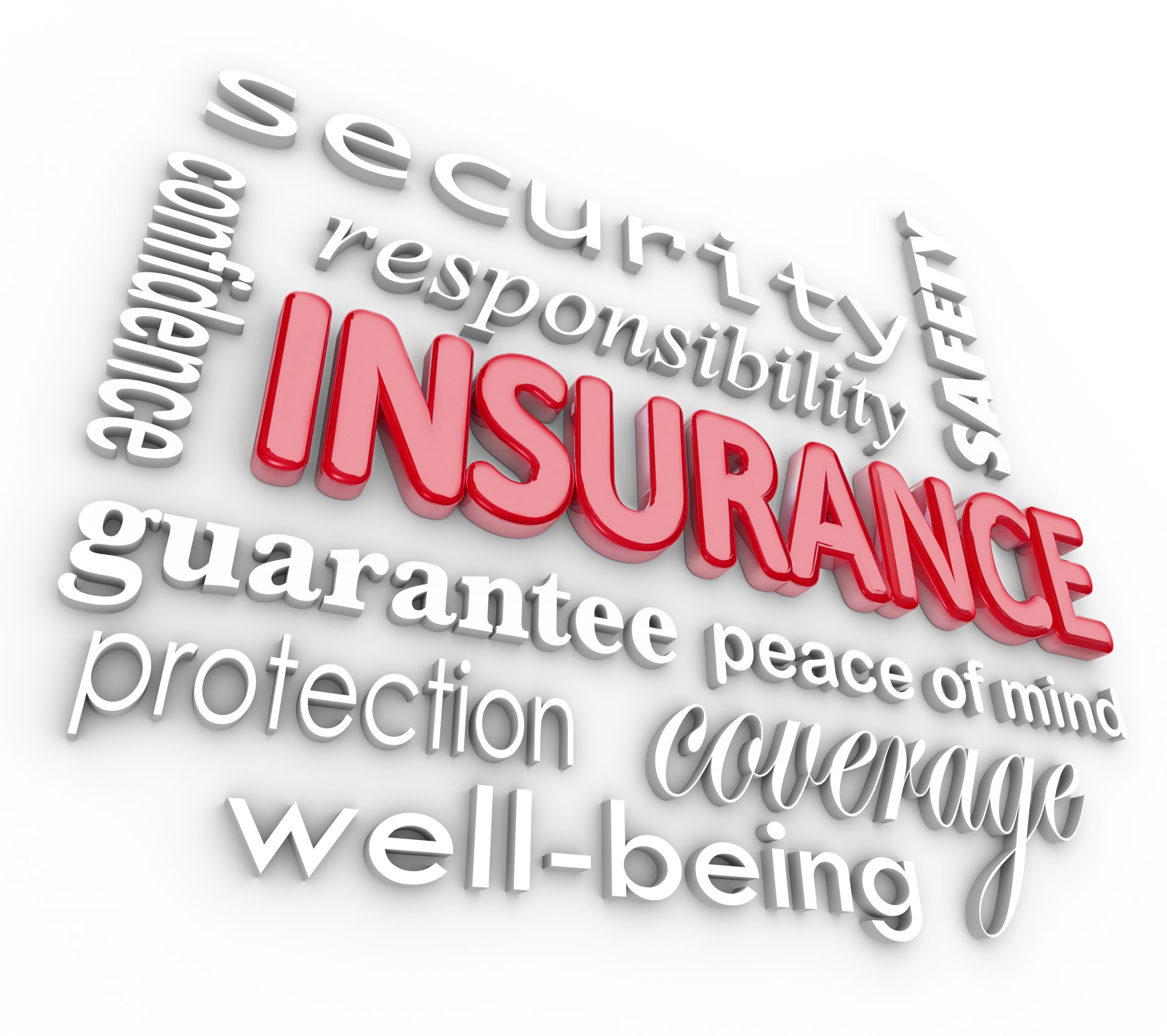 Insurance graphic showing concept of many related words such as safety, security, confidence, guarantee, peace of mind, well-being, coverage and protection