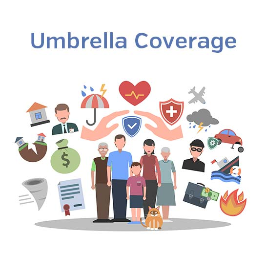 Umbrella coverage graphic, call Odiorne Insurance today for all of your insurance needs.