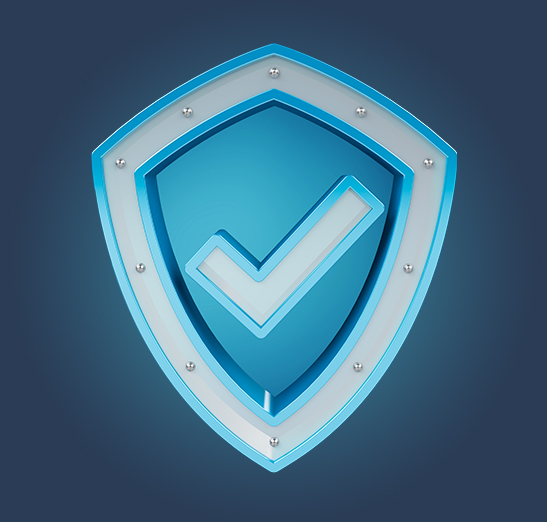 Protection graphic of blue shield with blue checkmark in the center.