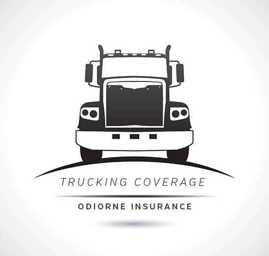 18 Wheeler logo graphic - Text reads: Trucking Coverage, Odiorne Insurance. Contact us today for truckers insurance.