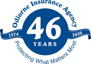 Graphic representing Odiorne Insurance Agency celebrating 46 Years of business from 1974 to 2020 Quote at bottom of graphic reads: Protecting What Matters Most.