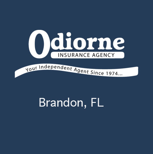 Odiorne Insurance logo on blue background with the city name of Brandon, Florida shown below the logo. Odiorne Insurance proudly serves the Van Buren Arkansas area. This image is not clickable. A decorative logo image only.