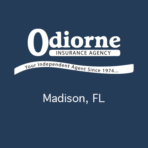 Odiorne Insurance logo on blue background with the city name of Madison, Florida shown below the logo. Odiorne Insurance proudly serves the Van Buren Arkansas area. This image is not clickable. A decorative logo image only.