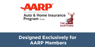 AARP Logo for Auto & Home from The Hartford
